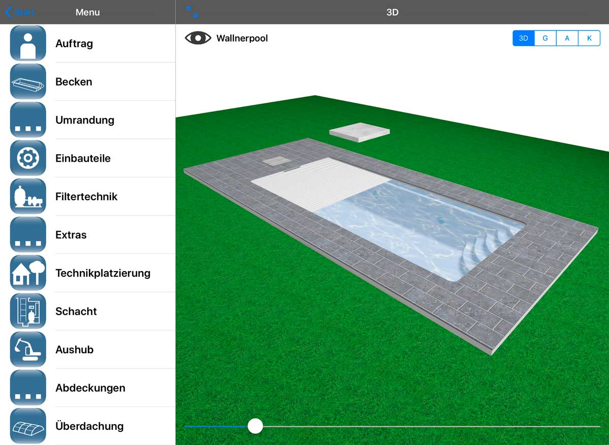 Planung einer Poolabdeckung in der Wallnerpool-App