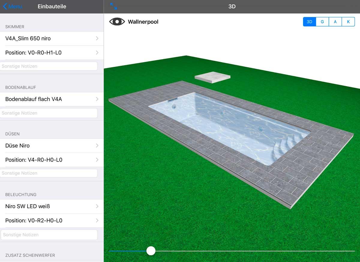 Wallnerpool-App für die Planung der Einbauteile
