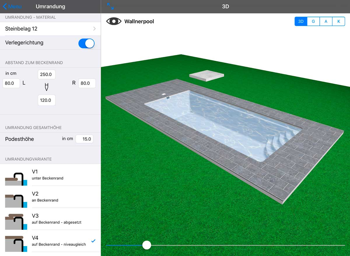 Planung der Poolumrandung in der Wallnerpool-App