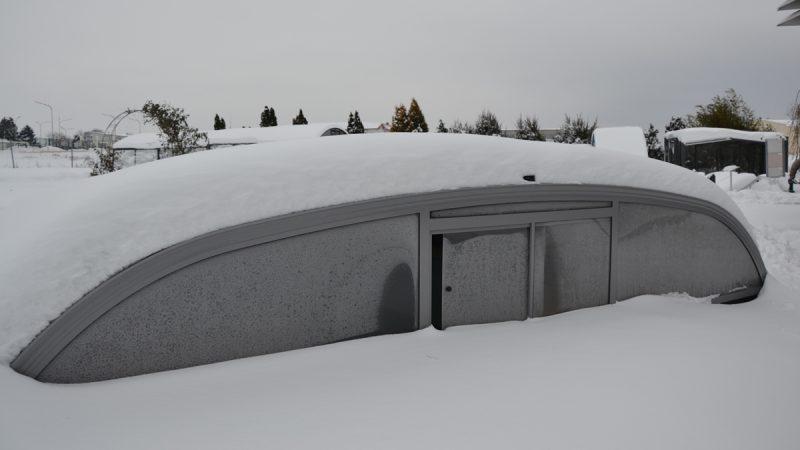 Wallnerpool Pool-Überdachung Schnee