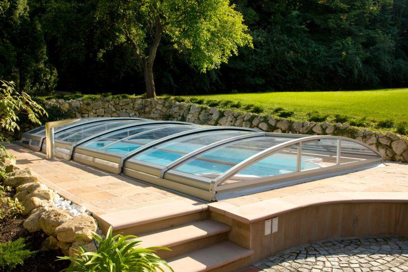 Pool Granada mit Pool-Dach Ultima niedrig Wallnerpool