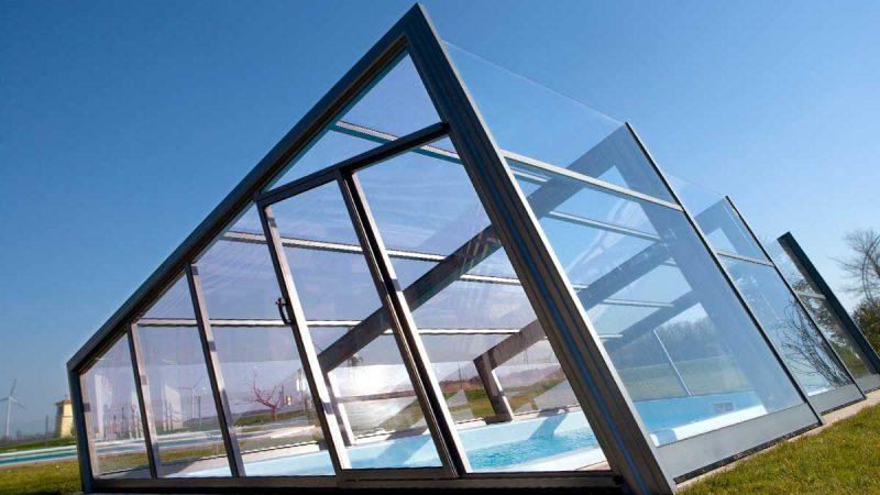 Exklusiv Design Poolüberdachung von Wallnerpool
